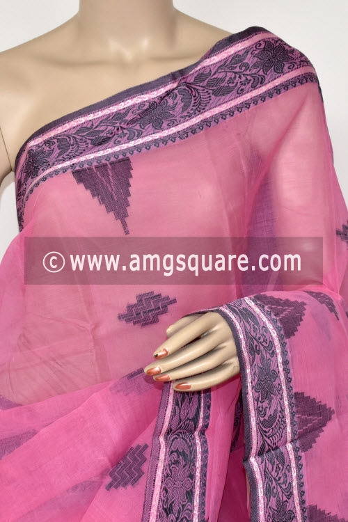 Pink Handwoven Bengal Tant Cotton Saree (Without Blouse) Zari Border 17411