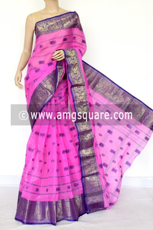 Pink Handwoven Bengal Tant Cotton Saree (Without Blouse) Zari Border 17162