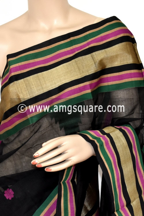 Black Handwoven Bengal Tant Soft Cotton Saree (Without Blouse) Munga Border 17394