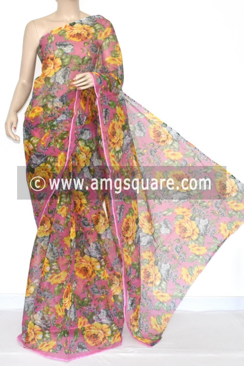 Pink JP Kota Doria Floral Printed Cotton Saree (without Blouse) 15348