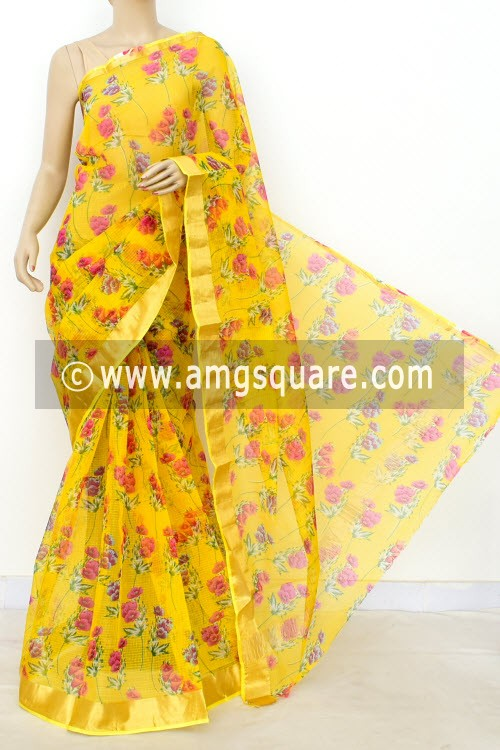 Yellow JP Kota Doria Printed Cotton Saree (without Blouse) Zari Border 13501