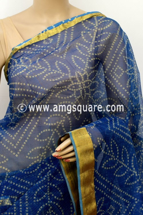 Blue JP Kota Doria Printed Cotton Saree (without Blouse) Chunri Print Zari Border 13520