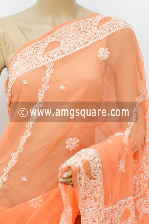 Light Orange Hand Embroidered Lucknowi Chikankari Saree (With Blouse - Georgette) Rich Pallu 14625