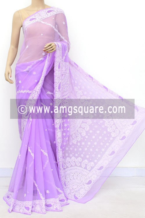 Lavander Hand Embroidered Lucknowi Chikankari Saree (With Blouse - Georgette) Rich Pallu 14626