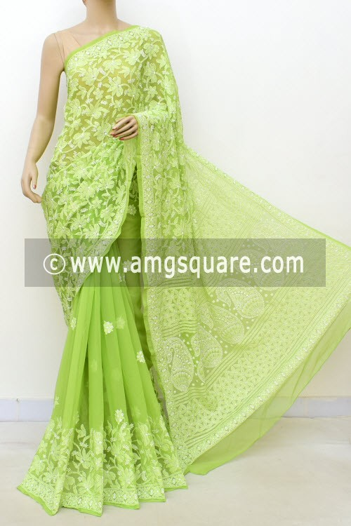 Menhdi Green Hand Embroidered Lucknowi Chikankari Saree (With Blouse - Georgette) Half Jaal 14630