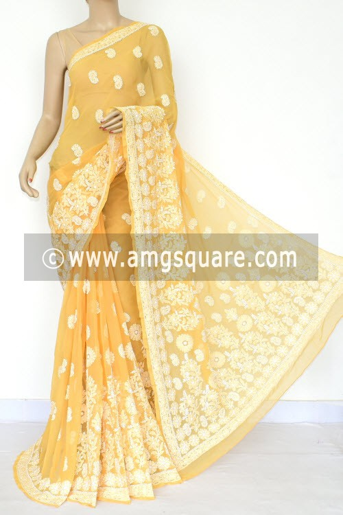 Beige Hand Embroidered Lucknowi Chikankari Saree (With Blouse - Georgette) Rich Pallu 14637