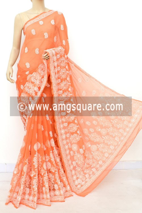 Light Orange Designer Hand Embroidered Lucknowi Chikankari Saree (With Blouse - Georgette) Skirt Border 14640
