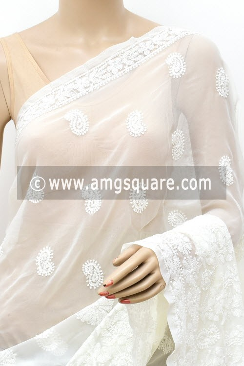 Off White Designer Hand Embroidered Lucknowi Chikankari Saree (With Blouse - Georgette) 14645