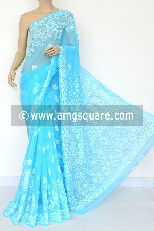 Pherozi Blue Hand Embroidered Lucknowi Chikankari Saree (With Blouse - Georgette) Rich Pallu & Border 14652
