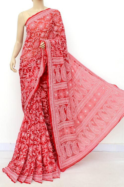 Red Allover Hand Embroidered Lucknowi Chikankari Saree (With Blouse - Faux Georgette) 14699