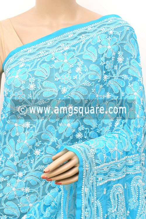 Pherozi Blue Allover Hand Embroidered Lucknowi Chikankari Saree (With Blouse - Faux Georgette) 14702