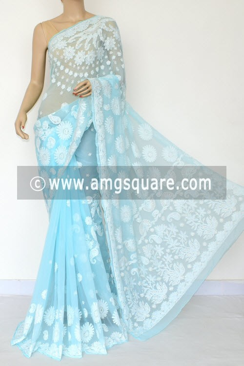 Sky Blue Hand Embroidered Designer Lucknowi Chikankari Saree (With Blouse - Georgette) Half Jaal 14714