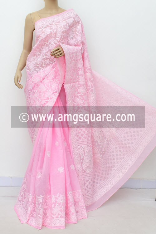 Pink Hand Embroidered Lucknowi Chikankari Saree (With Blouse - Cotton) Half Jaal 14749