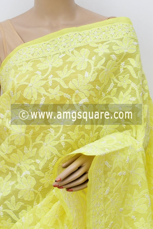 Lemon Yellow Hand Embroidered Lucknowi Chikankari Saree (With Blouse - Cotton) Half Jaal 14751