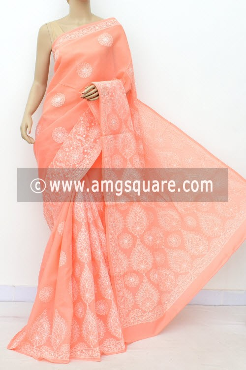 Peach Designer Hand Embroidered Lucknowi Chikankari Saree (With Blouse - Cotton) 14760