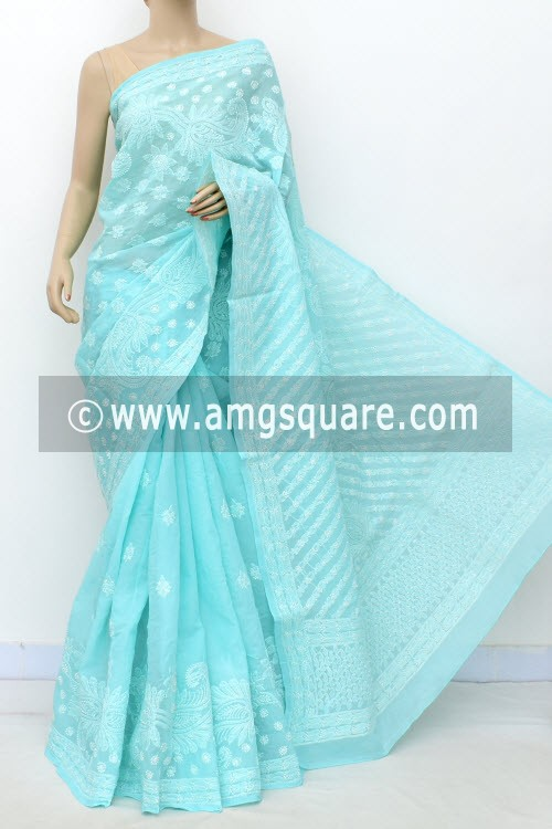 Sea Green Designer Hand Embroidered Lucknowi Chikankari Saree (With Blouse - Cotton) 14772