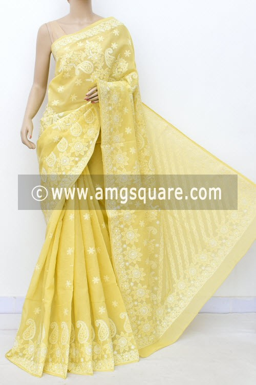 Ochre Yellow Designer Hand Embroidered Lucknowi Chikankari Saree (With Blouse - Cotton) 14781