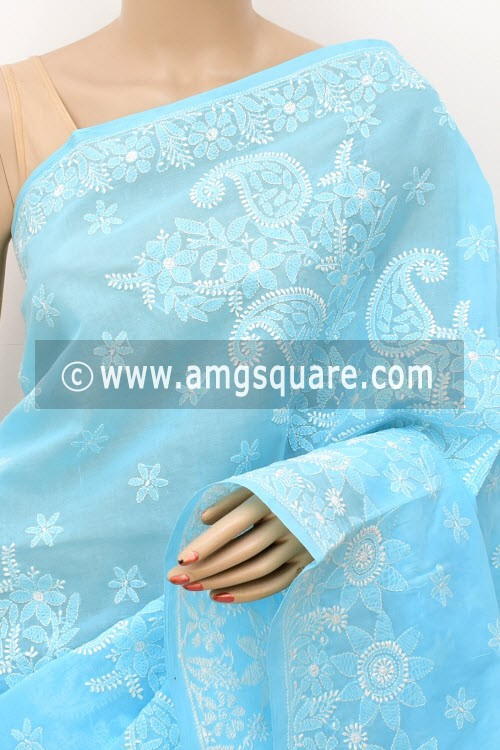Sky Blue Designer Hand Embroidered Lucknowi Chikankari Saree (With Blouse - Cotton) 14783