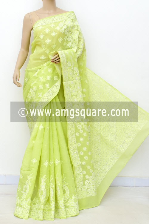 Pista Green Designer Hand Embroidered Lucknowi Chikankari Saree (With Blouse - Cotton) 14792