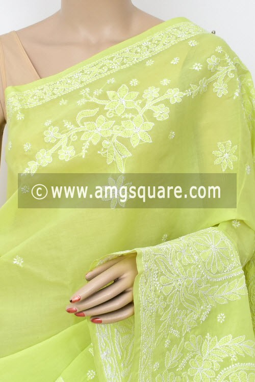 Pista Green Exclusive Hand Embroidered Lucknowi Chikankari Saree (With Blouse - Cotton) 14805