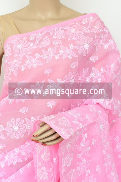 Pink Exclusive Hand Embroidered Lucknowi Chikankari Saree (With Blouse - Cotton) 14820
