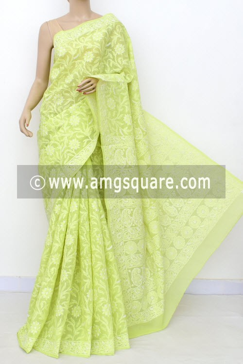 Pista Green Exclusive Allover Hand Embroidered Lucknowi Chikankari Saree (With Blouse - Cotton) 14857