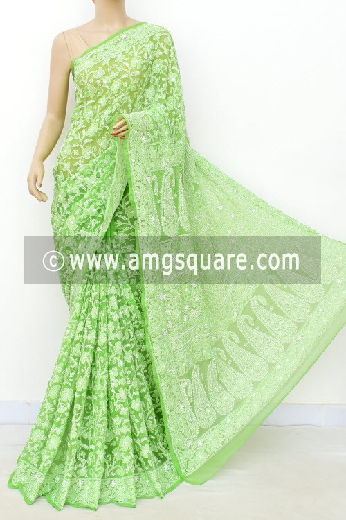 Pista Green Allover Hand Embroidered Lucknowi Chikankari Saree (With Blouse - Faux Georgette) 14931
