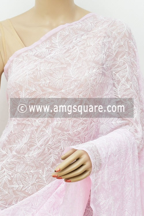 Baby Pink Hand Embroidered Allover Tepchi Work Lucknowi Chikankari Saree (With Blouse - Faux Georgette) 14933