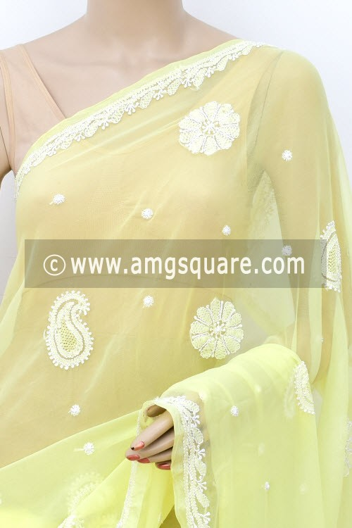 Lemon Yellow Hand Embroidered Lucknowi Chikankari Saree (With Blouse - Faux Georgette) Allover Booti 14940