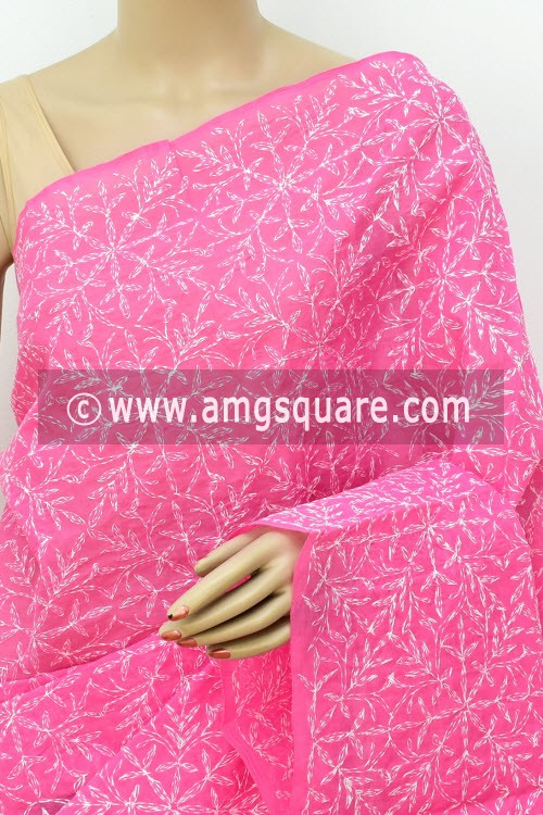 Onion Hand Embroidered Allover Tepchi Work Lucknowi Chikankari Saree (With Blouse - Cotton) 14941