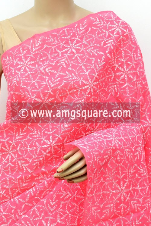 Fluorescent Peach Hand Embroidered Allover Tepchi Work Lucknowi Chikankari Saree (With Blouse - Cotton) 14943