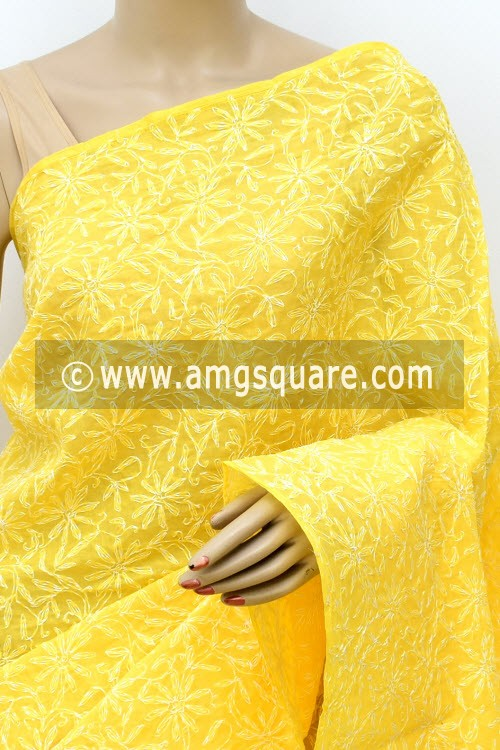 Yellow Hand Embroidered Allover Tepchi Work Lucknowi Chikankari Saree (With Blouse - Cotton) 14944