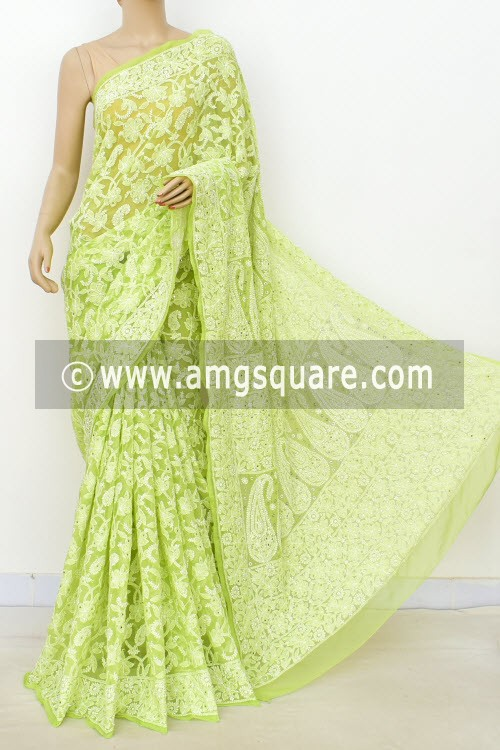 Pista Green Allover Hand Embroidered Lucknowi Chikankari Saree (With Blouse - Faux Georgette) Full Jaal with Fine Mukaish Work 14950 (A Bridal Collection)