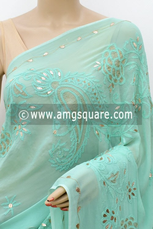 Sea Green Designer Hand Embroidered Lucknowi Chikankari Saree (With Blouse - Viscose Georgette) Gota-Patti Work 15212