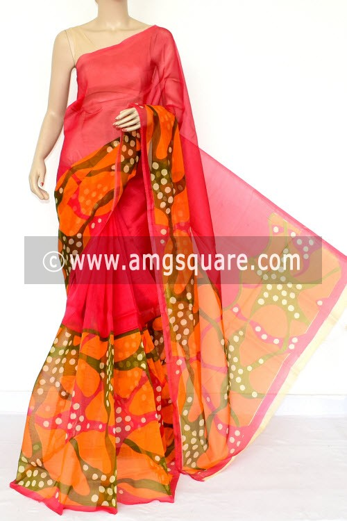 Orange Green Kota Printed Saree (Without Blouse - Supernet) 15457
