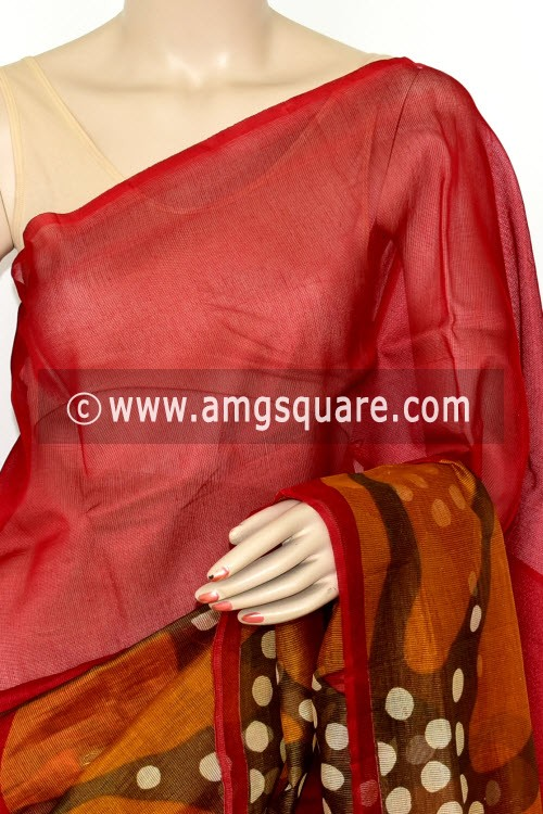 Maroon Mustared Kota Printed Saree (Without Blouse - Supernet) 15458