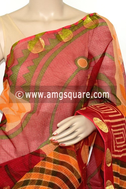 Maroon Yellow JP Kota Printed Cotton Saree (without Blouse) Zari Border & Pallu 15476