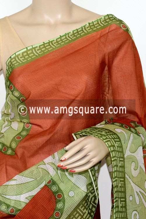 Menhdi Green Rust Premium Kota Doria Printed Cotton Saree (without Blouse) 15478