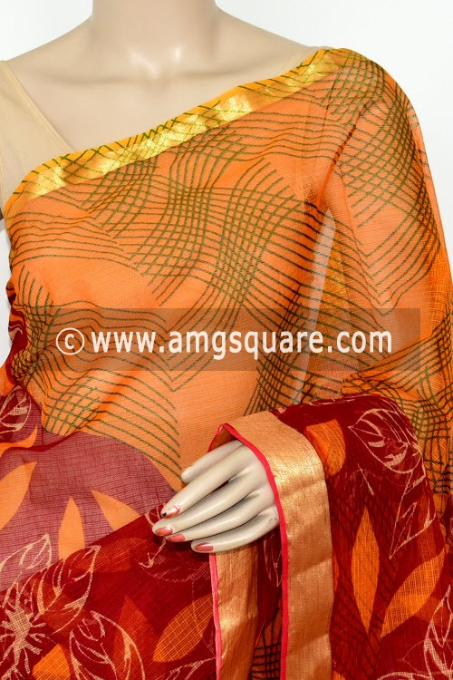 Red Orange JP Kota Doria Printed Cotton Saree (without Blouse) Zari Border 15481