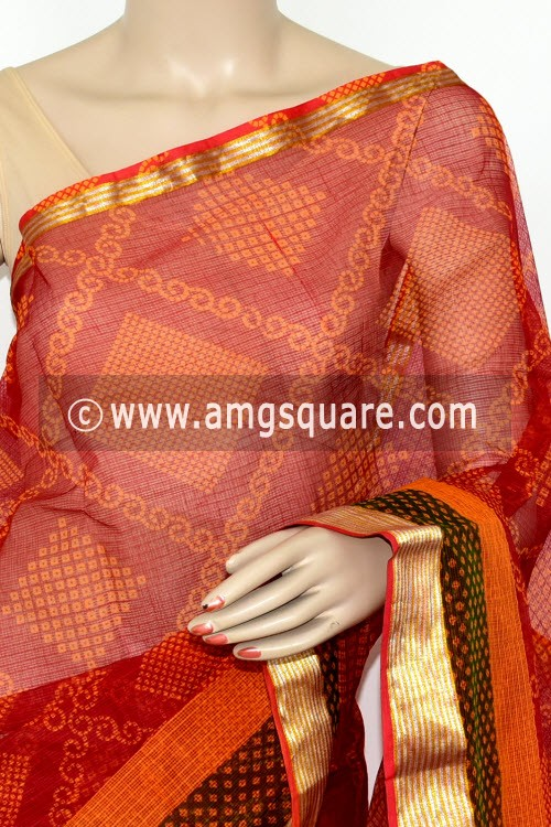 Red Green JP Kota Doria Chunri Print Cotton Saree (without Blouse) Zari Border 15482