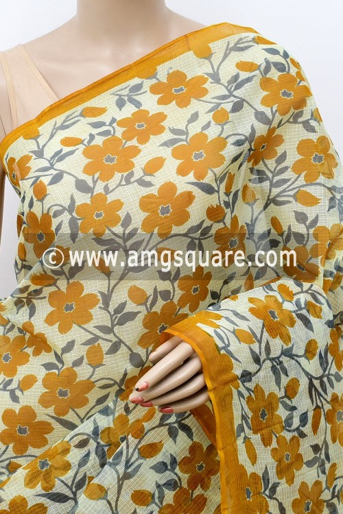 Mustared Yellow Grey Premium JP Kota Doria Floral Print Cotton Saree (without Blouse) 15488