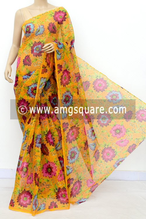 Yellow JP Kota Doria Floral Print Cotton Saree (without Blouse) 15490