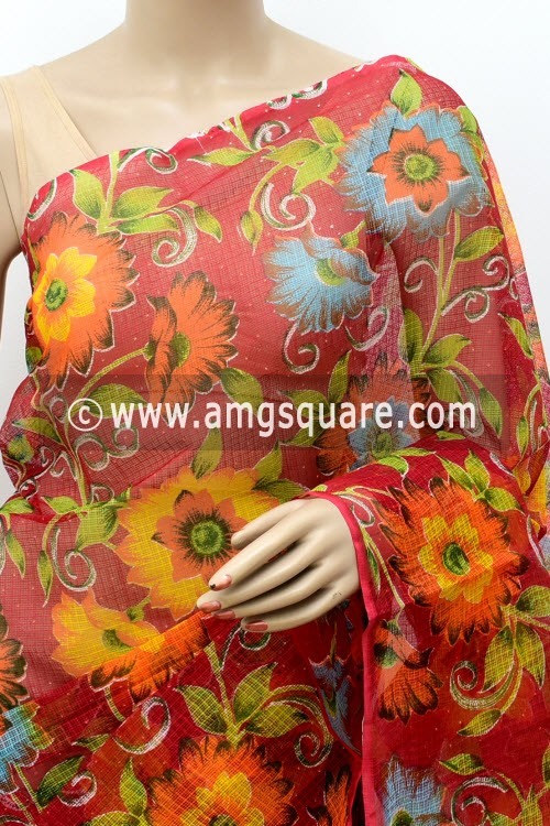 Red JP Kota Doria Floral Print Cotton Saree (without Blouse) 15491