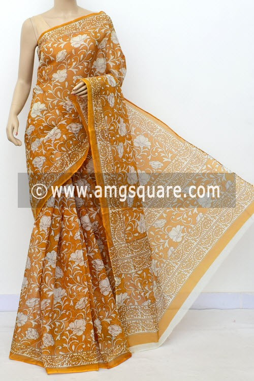 Mustared Yellow Premium JP Kota Doria Floral Print Cotton Saree (without Blouse) 15496