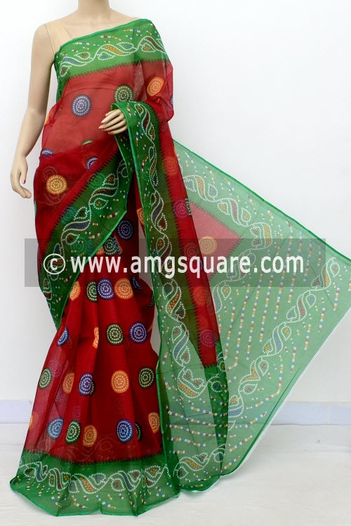 Red Green Premium JP Kota Doria Chunri Print Cotton Saree (without Blouse) 15498