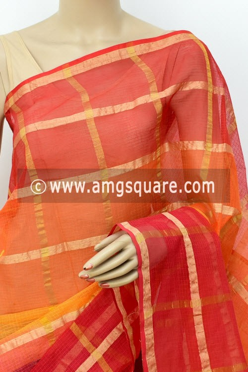 Red Yellow Kota Doria Allover Zari Check Cotton Saree (without Blouse) 15501