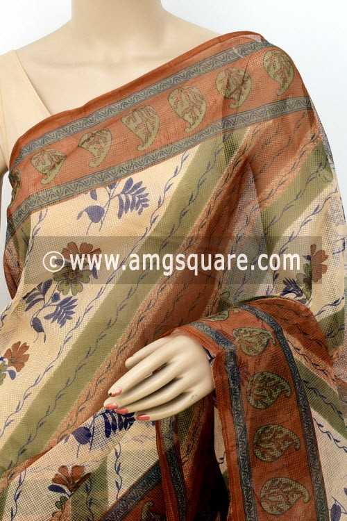 Brown JP Munga Kota Floral Print Cotton Saree (without Blouse) 15511
