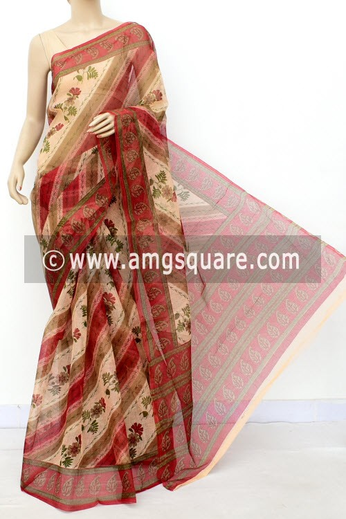 Red JP Munga Kota Floral Print Cotton Saree (without Blouse) 15512