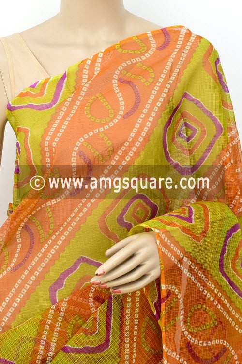 Orange Green Kota Doria Chunri Print Cotton Saree (without Blouse) 15514