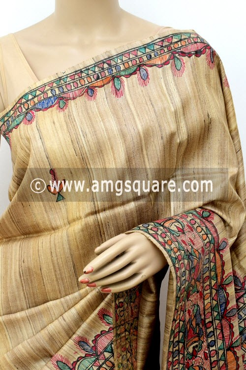 Madhubani Hand Printed Handloom Pure Matka Silk Saree (With Blouse) 16278